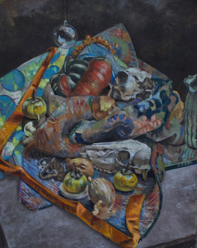 Skulls and Eggplants, oil on linen, 30x24 2017